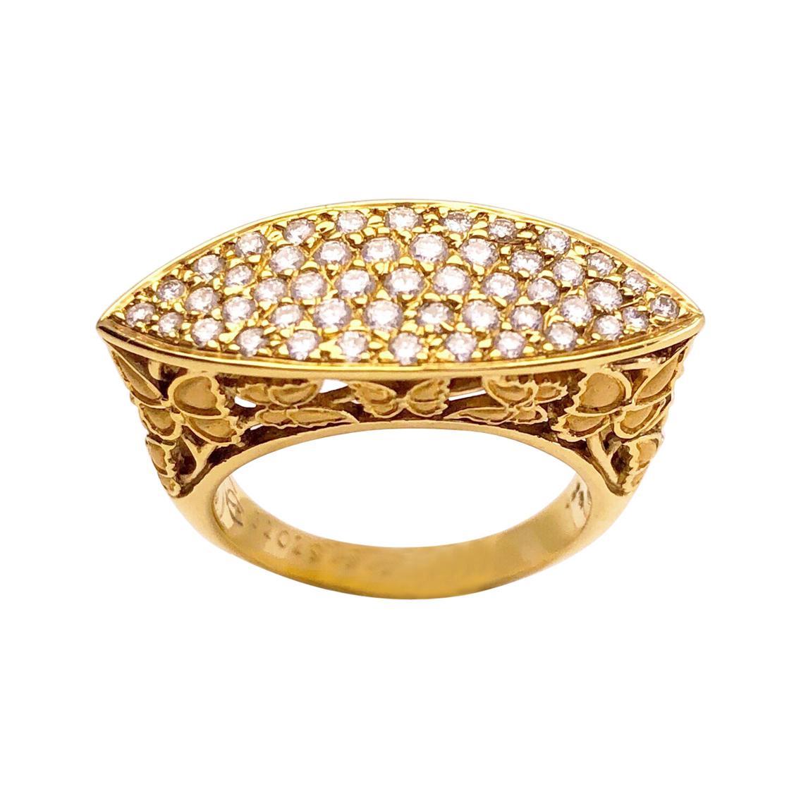 Carrera Y Carrera 18 Karat Yellow Gold and .65 Carat, Diamond Butterfly Ring