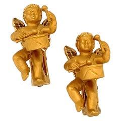 Carrera Y Carrera 18KT Yellow Gold Cherub Earrings