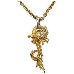 Carrera y Carrera 18 Karat Yellow Gold Dragon Pendant with Chain