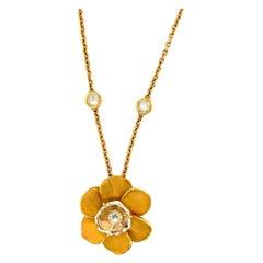 Carrera y Carrera 18kt Yellow Gold Gardenia Pendant with 0.82ct Diamond &Crystal