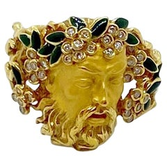 Carrera y Carrera 18kt Yellow Gold, Head of Bacchus Ring with Diamonds & Enamel
