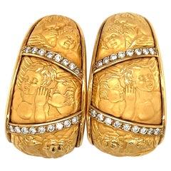 "Carrera Y Carrera 18KT Yellow Gold ""Mosaico Cherubs"" Earrings .46Ct Diamonds"