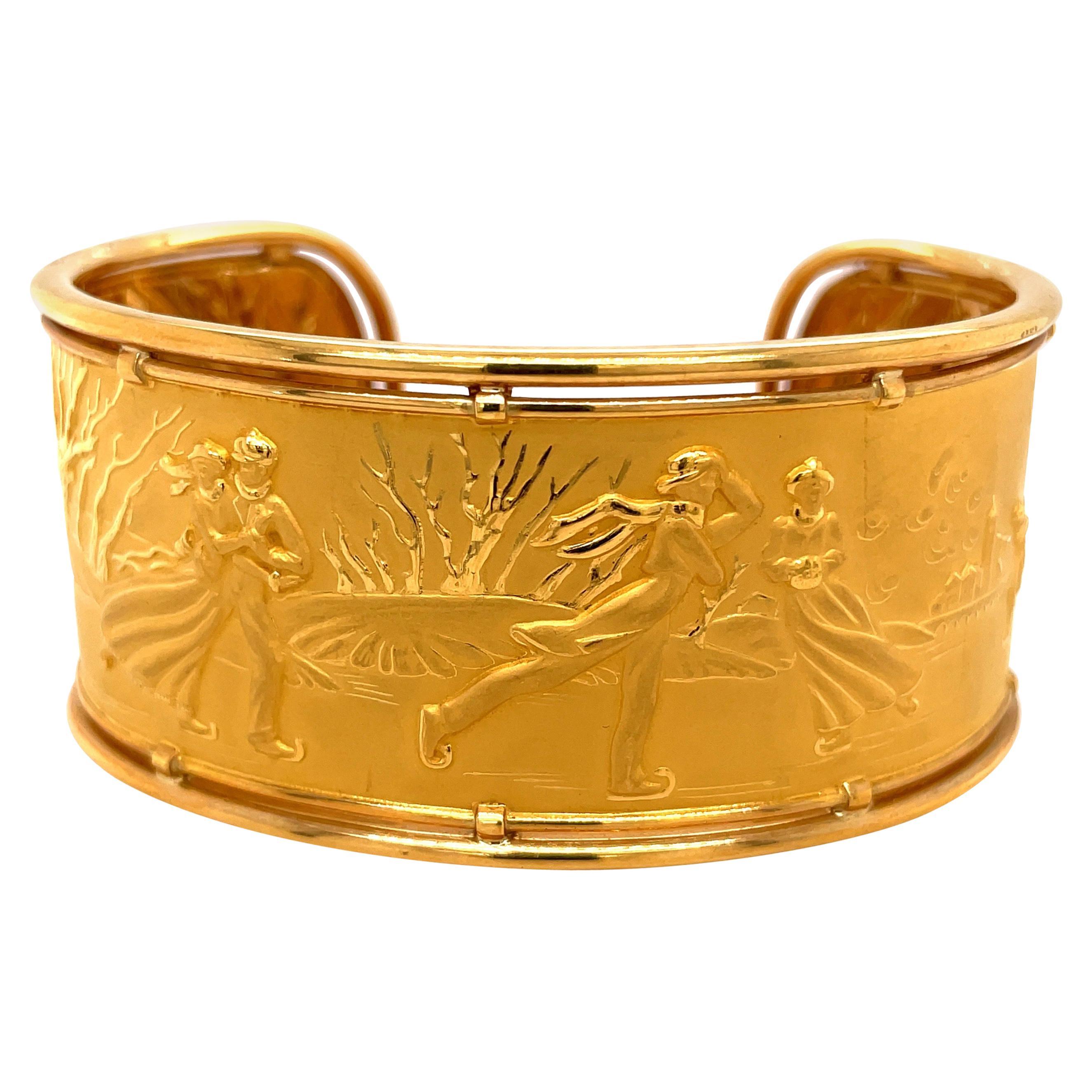 "Carrera y Carrera 18kt Yellow Gold ""Romantica Skaters"" Cuff Bracelet"