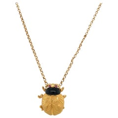 Carrera Y Carrera 18KT Yellow Gold Scarab Pendant with Onyx and Rubies