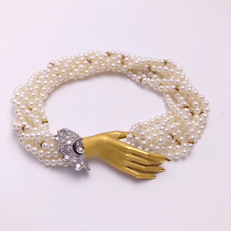 Carrera y Carrera 18Kt Yellow Gold, Twisted Pearl Bracelet & .44ct Diamond Hand In New Condition In New York, NY