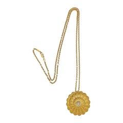 Carrera y Carrera Afrotita Diamond Gold Swirl Pendant Necklace