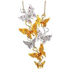 Carrera y Carrera Alegoría Yellow/White Gold Diamond and Pink Sapphire Necklace