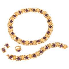 Carrera y Carrera Amethyst & Diamond Frog Necklace, Bracelet, Earclip & Ring Set