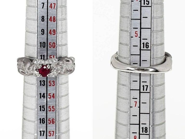 Carrera y Carrera Ruby Diamond Angel Motif Ring 18 Karat White Gold  EU52 For Sale 2
