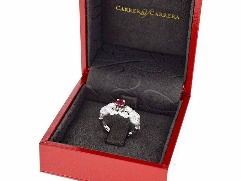 Carrera y Carrera Ruby Diamond Angel Motif Ring 18 Karat White Gold  EU52 For Sale 5