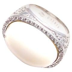 Carrera Y Carrera Aqua Diamond White Agate White Gold Ring
