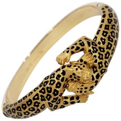 Carrera y Carrera Battling Leopards Gold Bracelet with Diamonds and Enamel