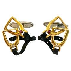 Carrera Y Carrera Cufflinks, Stirrups Gold and Steel