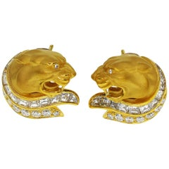 Carrera y Carrera Diamond 18 Karat Yellow and White Gold Panther Studs Earrings
