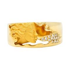 Carrera Y Carrera Diamond 18 Karat Yellow Gold Wind Nymph Band Ring