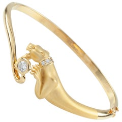 Carrera y Carrera Diamond Panther 18 Karat Yellow Gold Bangle Bracelet