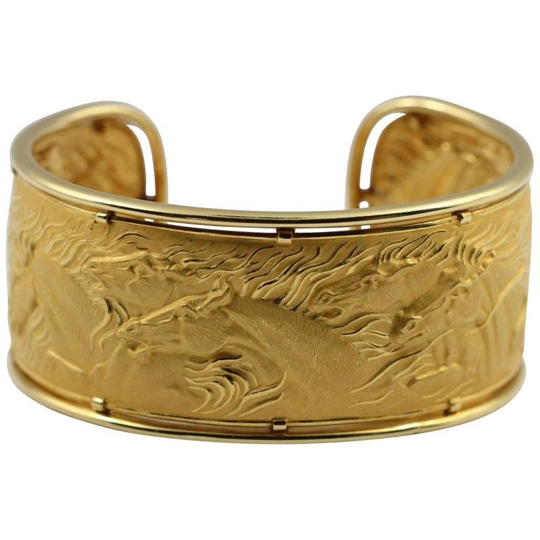 Carrera y Carrera Gold Wild Horse Cuff For Sale