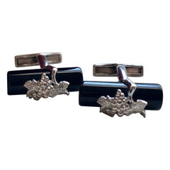 Carrera Y Carrera La Vina Sterling Silver and Black Onyx Cufflinks