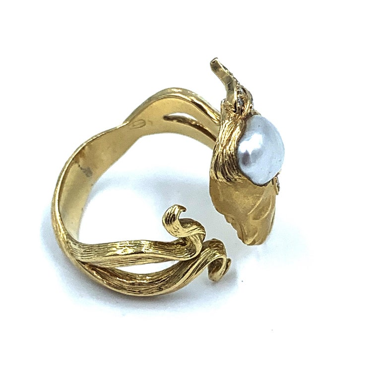 Women's Carrera y Carrera Pearl and Diamond Maiden or Face of Woman Ring For Sale