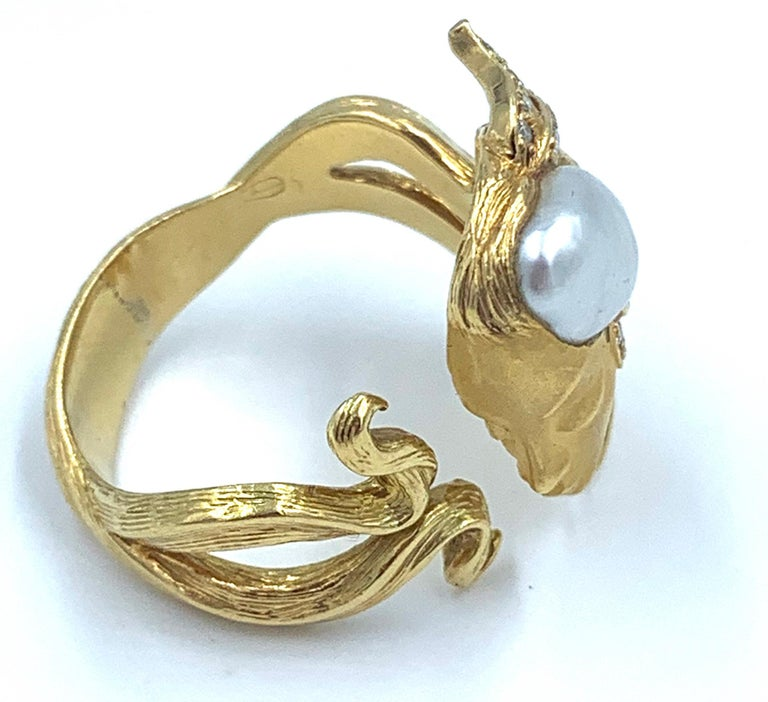 Carrera y Carrera Pearl and Diamond Maiden or Face of Woman Ring For Sale 2