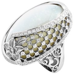 Carrera y Carrera Sierpes Maxi 18K White Gold 1.65 Ct Diamond and Moonstone Ring