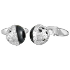 Carrera y Carrera Universo Prisma 18 Karat Gold Diamond and Onyx Ball Cufflinks