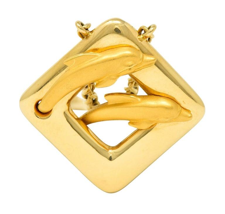 Carrera Y Carrera Vintage 18 Karat Yellow Gold Dolphin Necklace For Sale 2