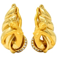 Carrera Y Carrera Vintage Diamond 18 Karat Yellow Gold Mermaid Earrings