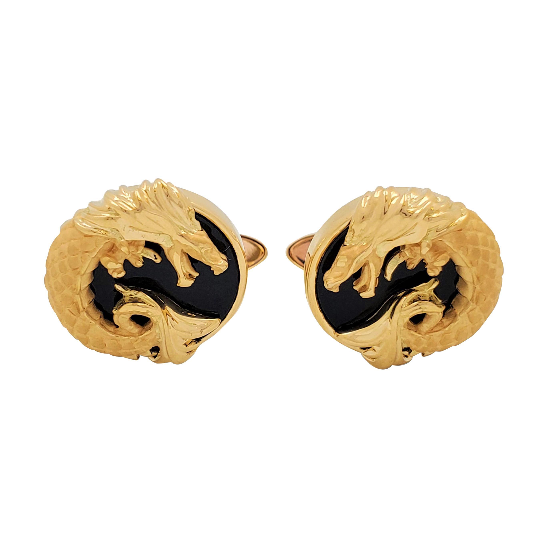 Carrera Y Carrera Yellow Gold and Onyx Cufflinks