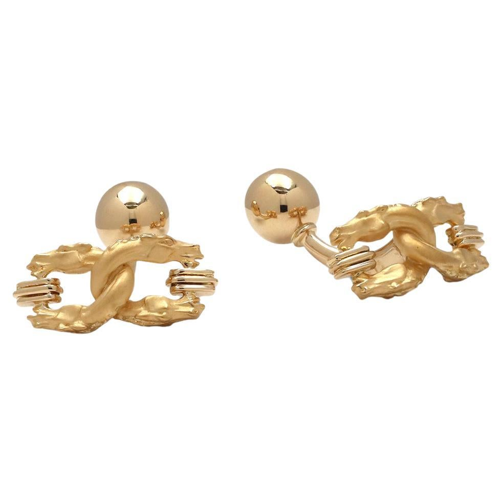 Carrera Y Carrera Yellow Gold Dragon Motif Cufflinks