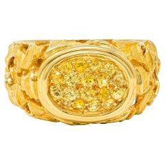 Carrera Y Carrera Yellow Sapphire 18 Karat Gold Ginkgo Band Ring