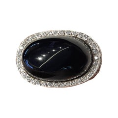 Carrera y Carrera's Aqua Ring 18k White Gold Ring Diamonds Onyx Center