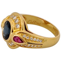 CarreraYCarrera 18kt. Gold Ring with 1.65Ct. Oval Blue Sapphire, Ruby & Diamonds