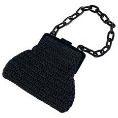 Carrie Forbes Hand-Crochet Vintage Black Evening Bag, Premier Collection LA 1989