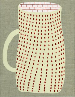 """""""A.M"""" acrylic painting on linen coffee cup pattern"""