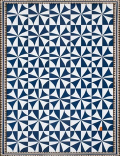 """Blue and White Matisse"" quilt pattern pop of orange opt art"