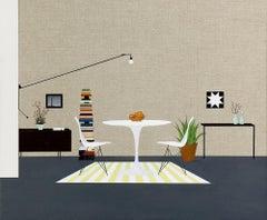"""""""Modern Interior"""" mid century modern still life table lamp artwork"""