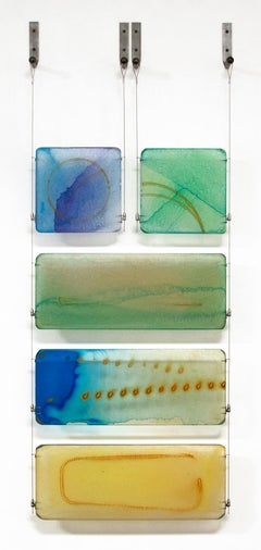 Carrie McGee - Cradle - multicolor wall hanging sculpture (blues, greens)
