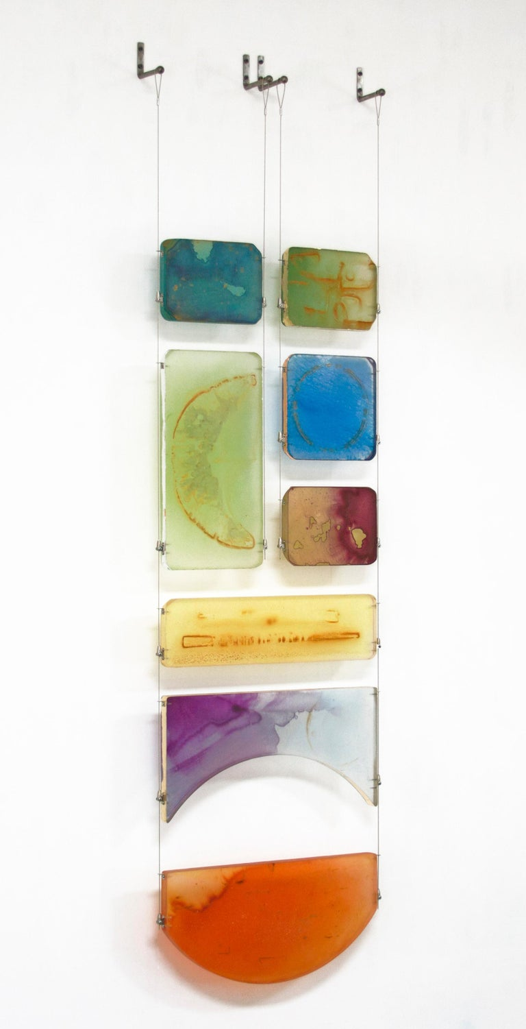 Carrie McGee - Luna - multicolor hanging wall sculpture - Abstract Sculpture by Carrie McGee