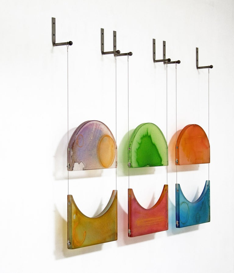 Carrie McGee - To Be Real - multicolor hanging wall sculpture - Abstract Sculpture by Carrie McGee