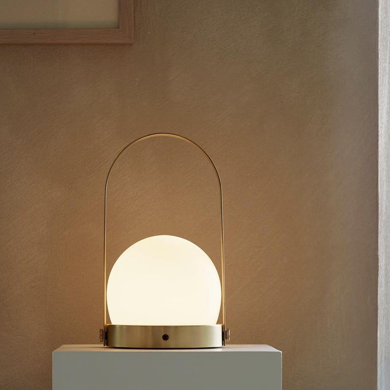 Plated Carrie Portable Led Lamp, Brushed Brass by Norm Architects For Sale