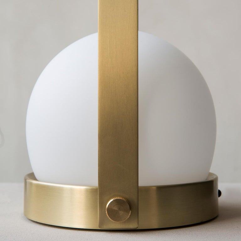 Contemporary Carrie Portable Led Lamp, Brushed Brass by Norm Architects For Sale