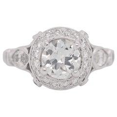 Carrie Underwood GIA 1.03 Carat Round Cut Diamond Platinum Halo Engagement Ring