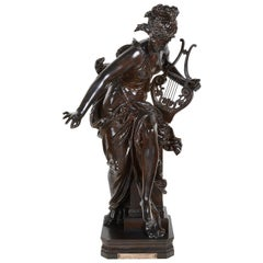 Carrier-Belleuse Bronze Female Statue Holding a Harp, 'Harmone' 19th Century