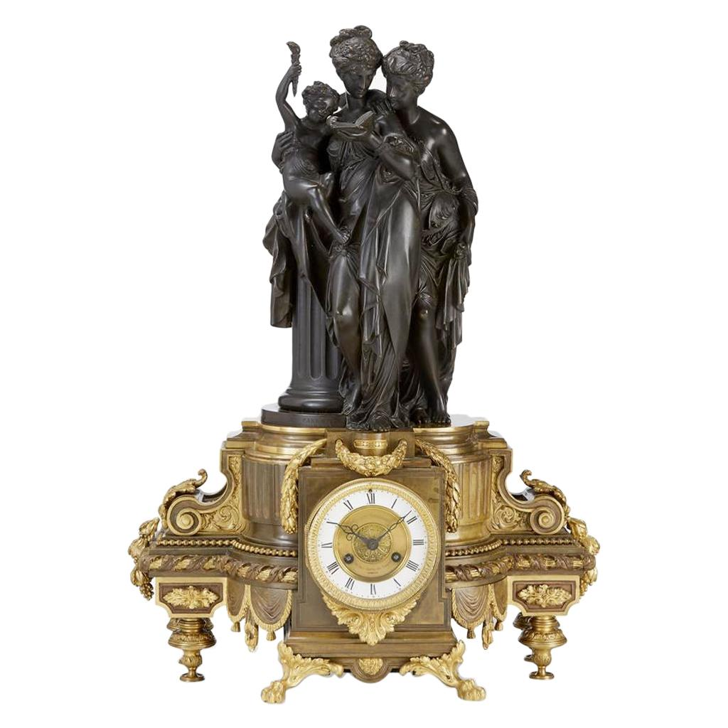 Carrier-Belleuse Napoleon III Gilt and Patinated Bronze Figural Mantel Clock