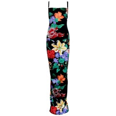 Carries SATC 1990s Dolce & Gabbana Hand-Painted Floral Corset Evening Dress Gown