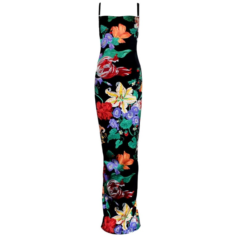 Carries SATC 1990s Dolce & Gabbana Hand-Painted Floral Corset Evening Dress Gown For Sale