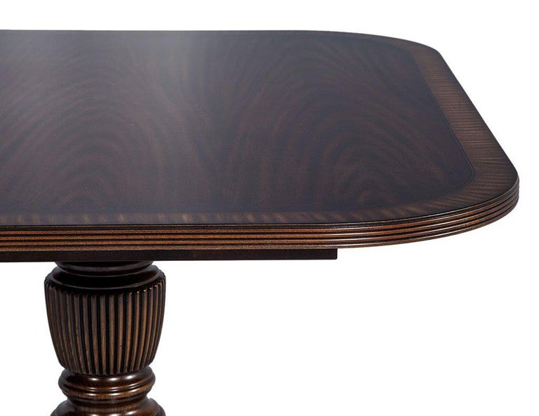 Carrocel Custom Flamed Mahogany Dining Table with Duncan Phyfe Style Pedestals For Sale 4