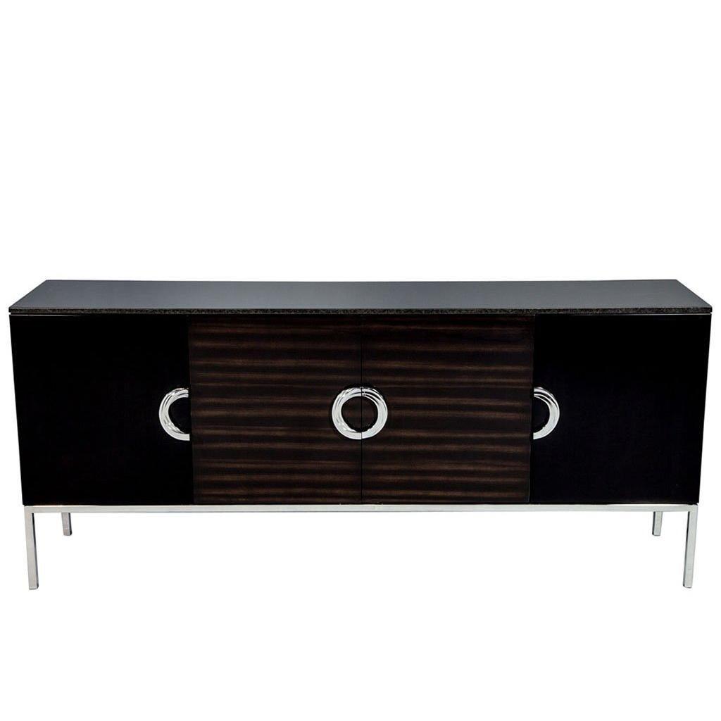 Carrocel Custom Modern Black Lacquer Walnut Sideboard Buffet Credenza