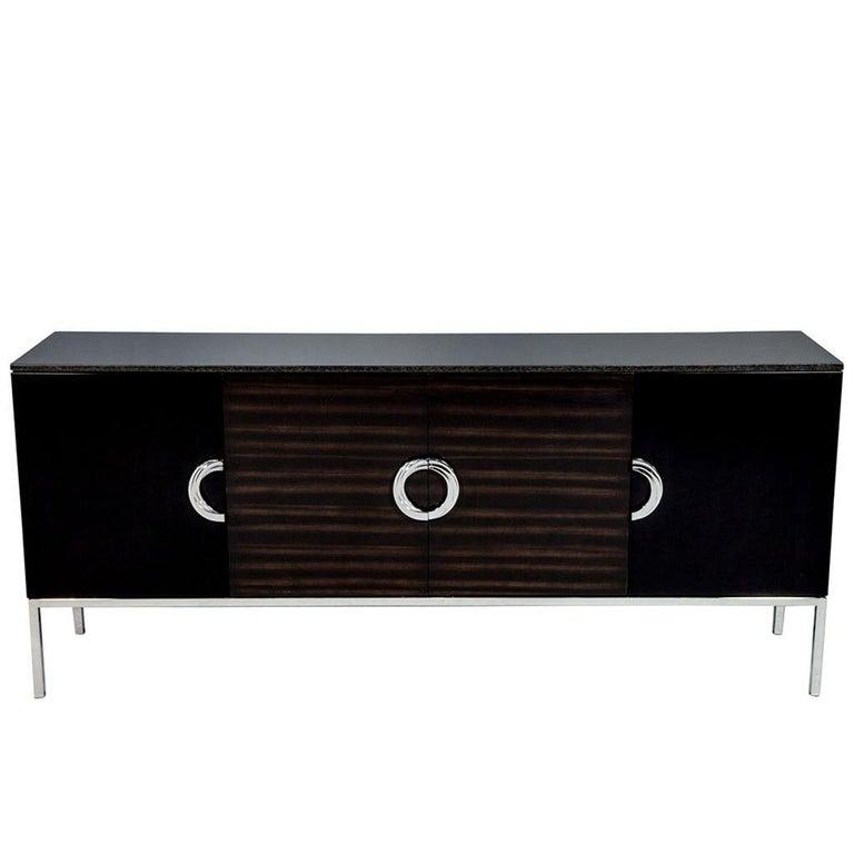 Carrocel Custom Modern Black Lacquer Walnut Sideboard Buffet Credenza For